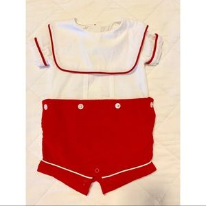 MudPie Red and White Shortall